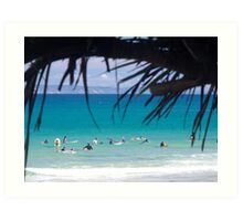 Waiting For Waves : Ocean View of Surfers at Noosa's First Point Art Print