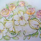 FREESIAS AND ROSES by Gea Jones
