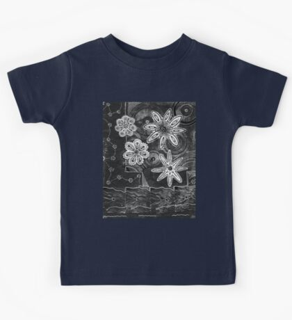 Floral Monprint and Ink Tangle 1 Kids Tee