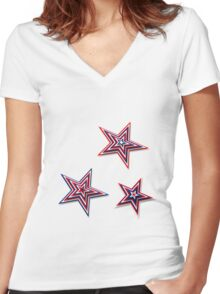 Patriotic Stars Women's Fitted V-Neck T-Shirt