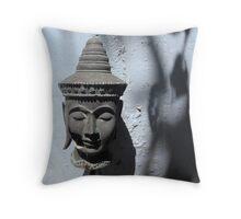 Buddha Head Sculpture with Tree Shadows Throw Pillow