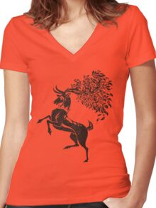 Pokemon / Game of Thrones: Sawsbuck / Baratheon Women's Fitted V-Neck T-Shirt