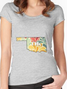 Floral Oklahoma Women's Fitted Scoop T-Shirt