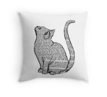 books and cats and books and cats Throw Pillow