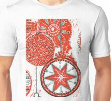 Xmas Baubles 20 -  Gelli Plate Print and Ink Unisex T-Shirt