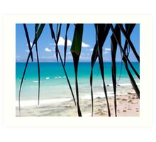 Blurred vision from under the Pandanus trees : Ocean blues and greens  Art Print