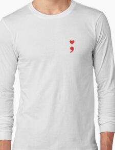 Semicolon; Heart Red Long Sleeve T-Shirt