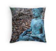 Zen Buddha Statue in Forest Throw Pillow