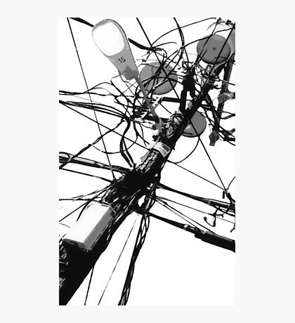 Lamp Post & Power Lines Photographic Print