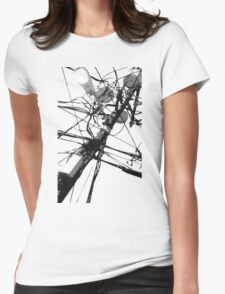 Lamp Post & Power Lines Womens Fitted T-Shirt