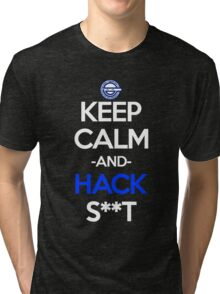 ghost in the shell laughing man keep calm and hack s**t anime manga shirt Tri-blend T-Shirt