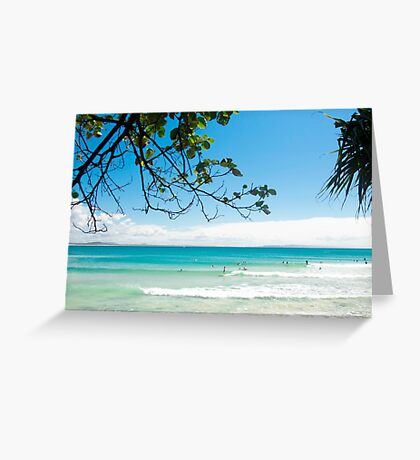 Longboard waves at First Point, Noosa : Light blue & green Greeting Card