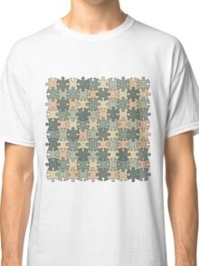 Jigsaw Puzzle Pattern in Calm Color Palette Classic T-Shirt
