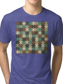 Jigsaw Puzzle Pattern in Nature Color Palette Tri-blend T-Shirt