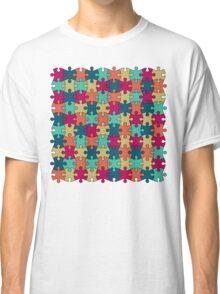 Jigsaw Puzzle Pattern in Festive Color Palette Classic T-Shirt