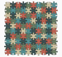 Jigsaw Puzzle Pattern in Vintage Color Palette Kids Clothes
