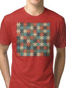 Jigsaw Puzzle Pattern in Vintage Color Palette Tri-blend T-Shirt