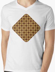 Javanese Batik Kawung Oval Diamond Chain Mens V-Neck T-Shirt