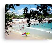Noosa Main Beach Summer View : Longboard & Turquoise Ocean Canvas Print