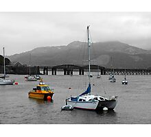 Barmouth Bridge and Boats Photographic Print