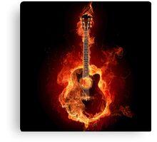 Flaming Guitar Canvas Print