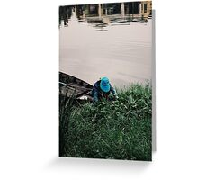Woman Harvesting, Vietnam. Greeting Card