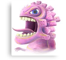 Funny monster lizard dragon rose Canvas Print