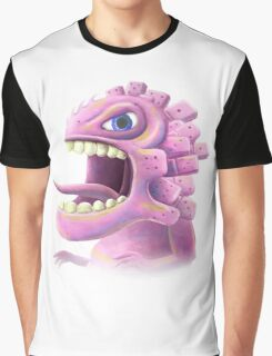 Funny monster lizard dragon rose Graphic T-Shirt
