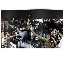 Goku flyin over Tokyo Poster
