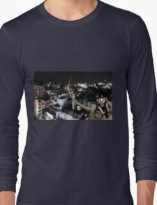Goku flyin over Tokyo Long Sleeve T-Shirt