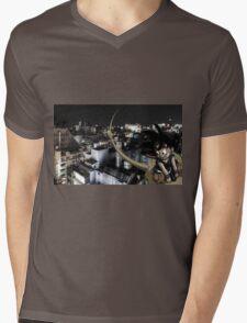 Goku flyin over Tokyo Mens V-Neck T-Shirt