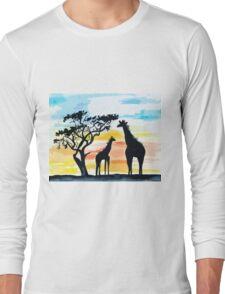 Giraffe Sunset Long Sleeve T-Shirt
