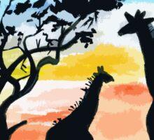 Giraffe Sunset Sticker