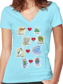 Aussie Friends love food - Boy Women's Fitted V-Neck T-Shirt
