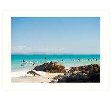 Surfers & Little Cove   Art Print