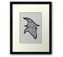 gandalf silhouette Black/White version Framed Print