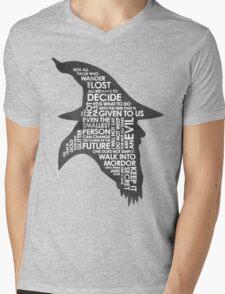 gandalf silhouette Black/White version Mens V-Neck T-Shirt