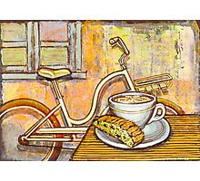 Cream Electra Town bicycle with cappuccino and biscotti Photographic Print