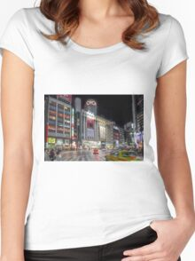 Bright Night Shibuya Intersection Women's Fitted Scoop T-Shirt