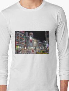 Bright Night Shibuya Intersection Long Sleeve T-Shirt