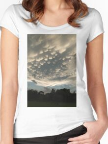 Bizarre Mammatus Clouds After a Summer Storm Women's Fitted Scoop T-Shirt