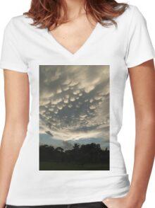 Bizarre Mammatus Clouds After a Summer Storm Women's Fitted V-Neck T-Shirt