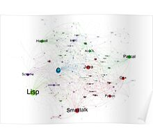 Network Graph of Programming Language Influence 2013 - White Background Poster