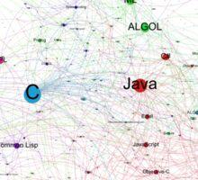 Network Graph of Programming Language Influence - White Canvas Sticker