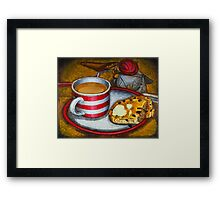 Still life with red touring bike Framed Print