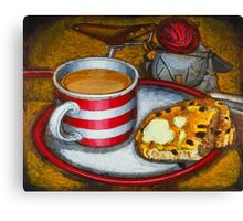 Still life with red touring bike Canvas Print