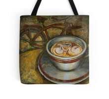 Still life with red cruiser bike Tote Bag