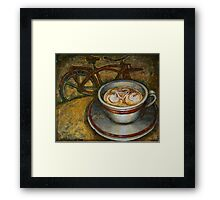 Still life with red cruiser bike Framed Print