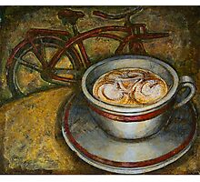 Still life with red cruiser bike Photographic Print