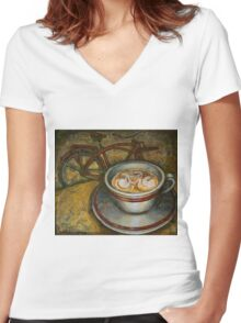 Still life with red cruiser bike Women's Fitted V-Neck T-Shirt